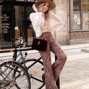 ZARA PRINTED FLARED PANTS